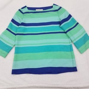 Ann Taylor Loft Top XS Blue Stripe Green Blouse Wo
